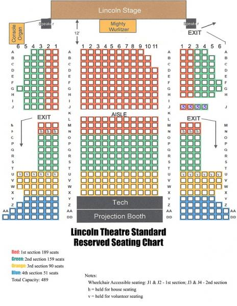 Seating Chart The Mission Of Lincoln Theatre